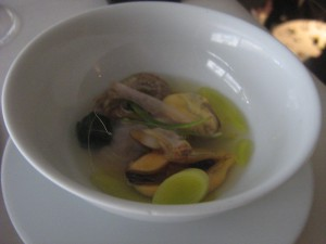 shellfish in yuzu broth