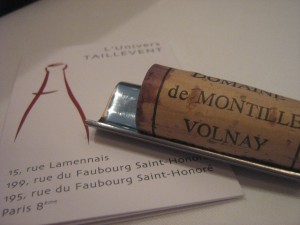 The cork off our bottle and Taillevent's wine card